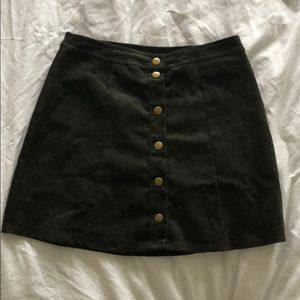 Olive corduroy button up skirt